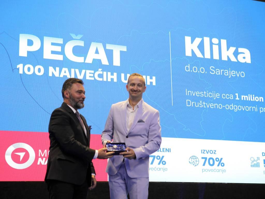 Sarajevska IT kompanija Klika dobitnik pečata 100 najvećih u BiH
