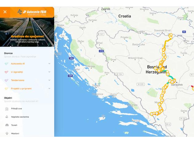 Interaktivna mapa o gradnji Koridora 5C - Autoceste FBiH razvile novu veb aplikaciju