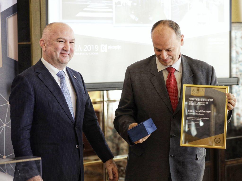 Baby Food Factory dobitnik nagrade za investiciju godine u Srbiji - eKapija dodijelila priznanja Aurea 2019