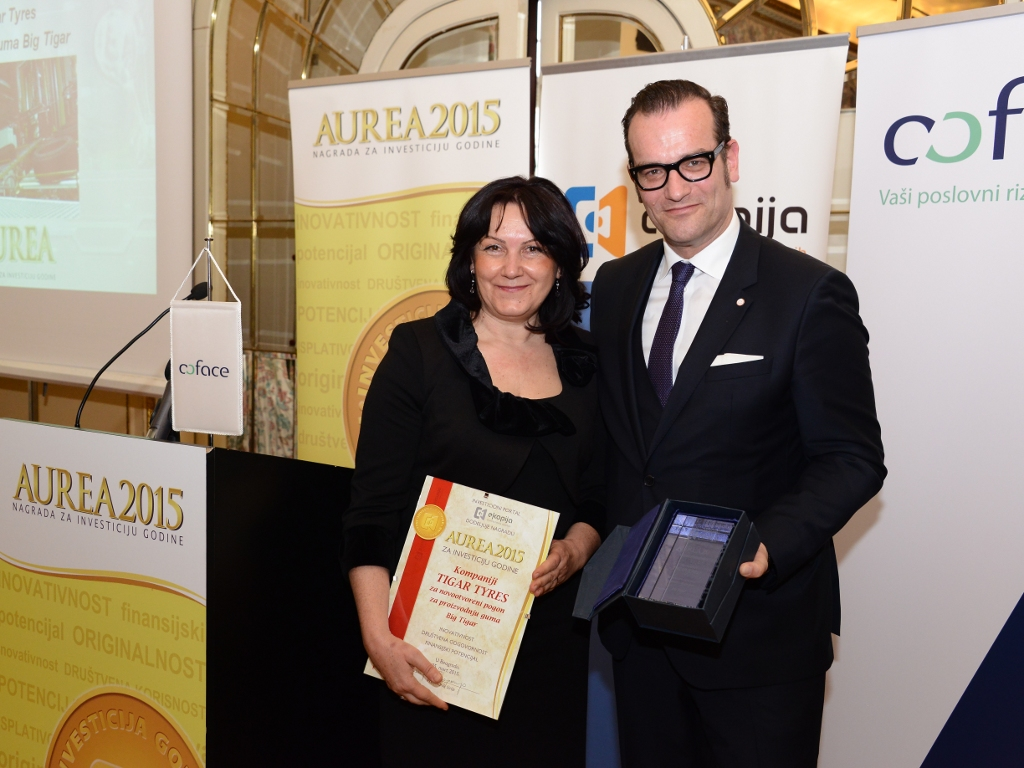 """Tigar Tyres"" dobitnik nagrade za investiciju godine - Portal ""eKapija"" dodelio priznanja ""Aurea 2015"" (FOTO)"