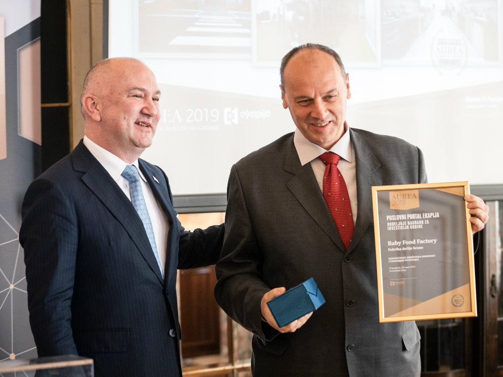 Baby Food Factory dobitnik nagrade za investiciju godine u Srbiji - eKapija dodelila priznanja Aurea 2019
