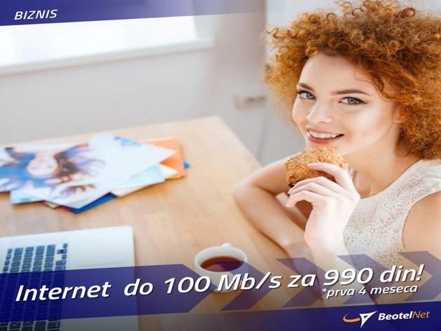 Internet za mala i srednja preduzeća - Do 100 Mbps prva 4 meseca po ceni od 990 dinara