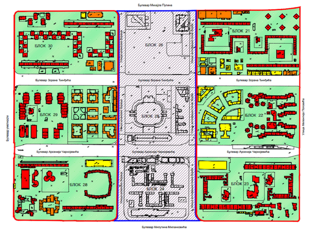 Crvenom su označeni objekti od posebnog značaja, narandžastom objekti od značaja, a žutom objekti bez značaja