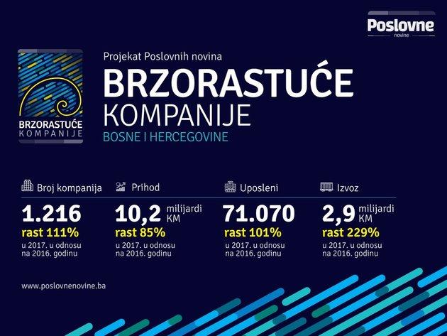 Brzorastuće kompanije u BiH u 2017. imale prihod od 10,2 mlrd KM - Izvoz njihovih proizvoda povećan za čak 230%