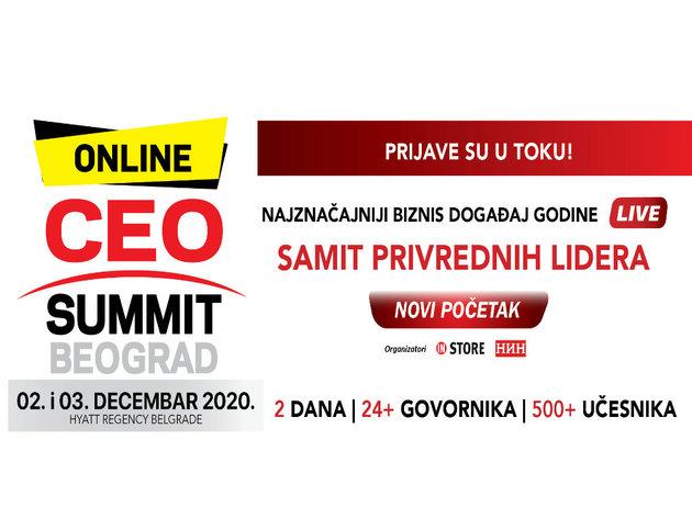 """CEO Summit Beograd """"Novi početak"""" - Najznačajniji biznis događaj godine 2. i 3. decembra u online formatu"""