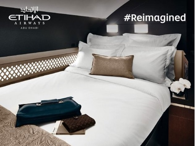 Bedroom with bathroom for rich passengers flying with Etihad