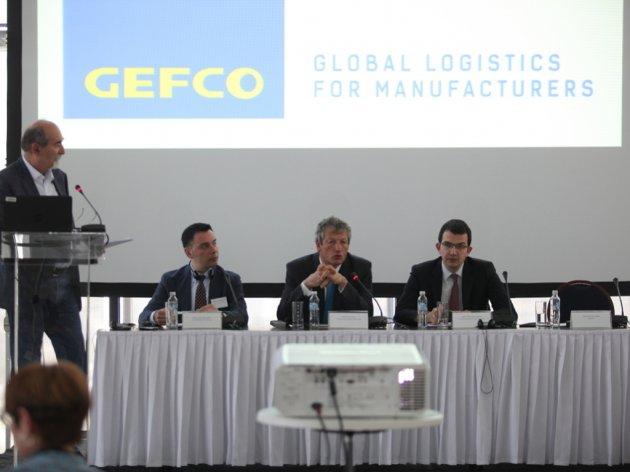 Lačezar Rubčev, Luk Nadal i Veljko Jovanović na predstavljanju kompanije GEFCO