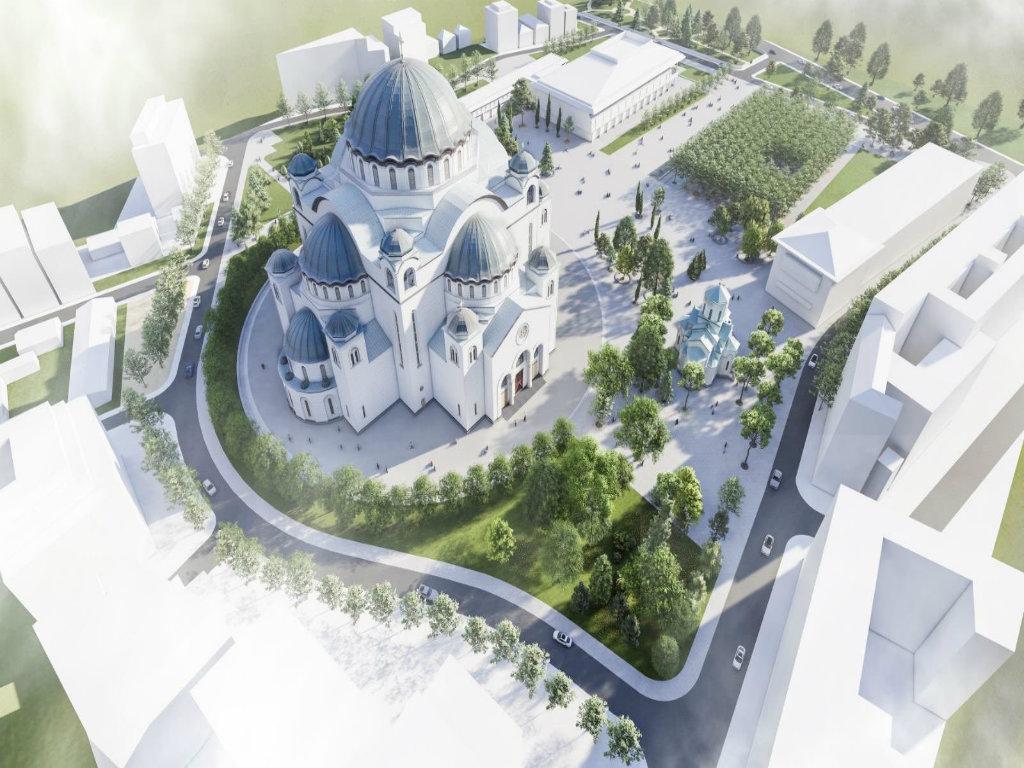 Počinje rekonstrukcija parka ispred Hrama Svetog Save - Završetak radova u toku 2021.