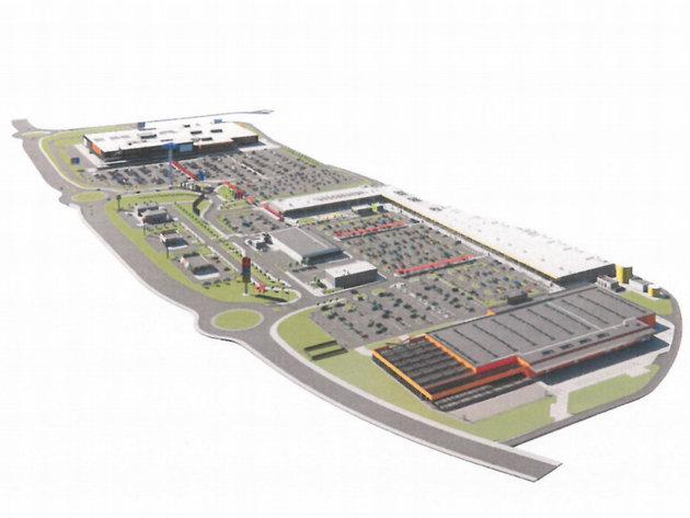 Prikaz planiranog trgovinskog kompleksa sa susjednom lokacijom robne kuće IKEA