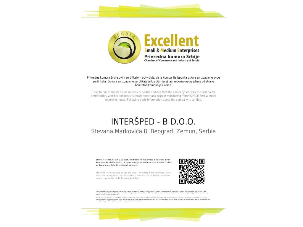 Excellent SME sertifikat za kompaniju Interšped-B