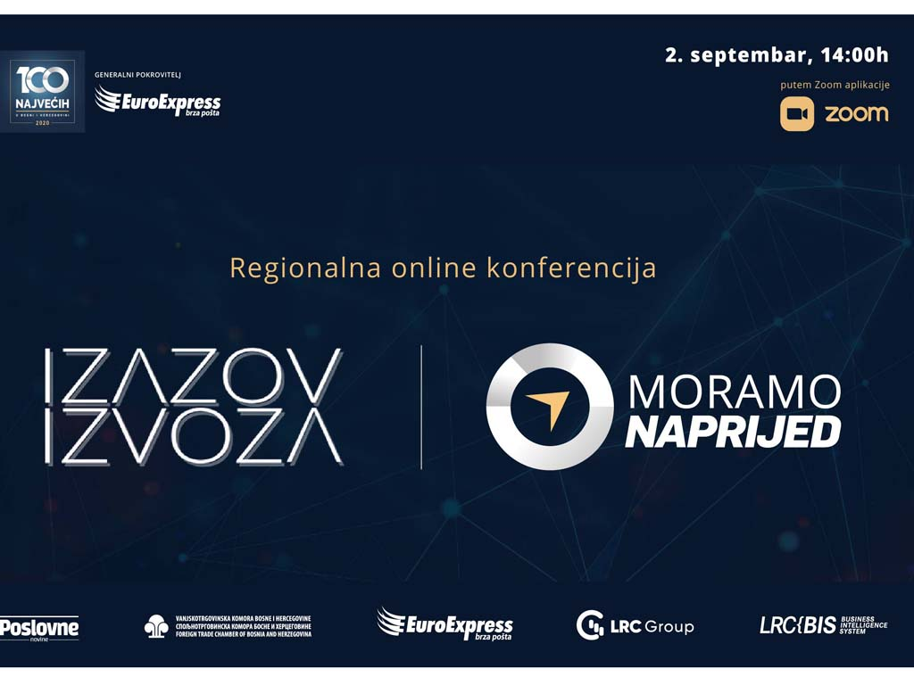 "Regionalna onlajn konferencija ""Izazov izvoza  Moramo naprijed"" 4. septembra"