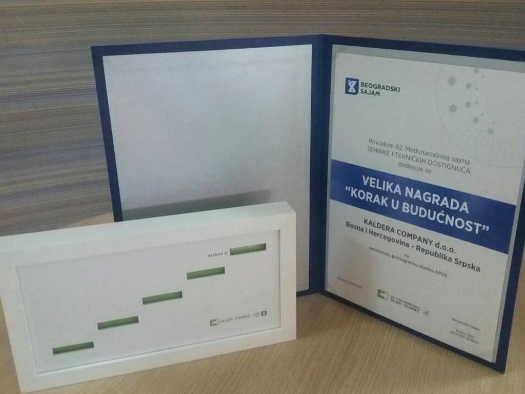 """Kaldera Company dobila Veliku nagradu """"Korak u budućnost"""" na sajmu tehnike u Beogradu"""