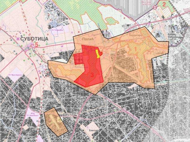 Raum, den der Masterplan für den Palić-See deckt, gelb: Goldenkreis, rot: Silberkreis, orange: Bronzekreis