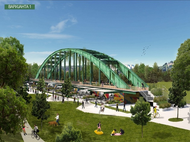 What the Old Sava Bridge might look like at the Usce Park
