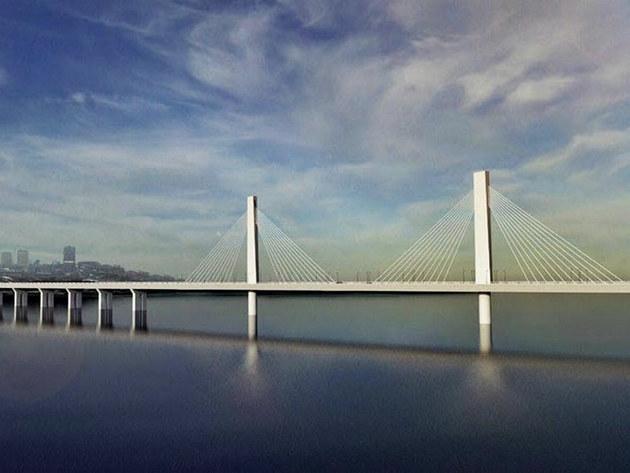 Früher präsentierter Entwurf der Brücke bei Ada Huja