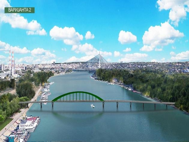 Varijanta 2: Preseljenje Starog savskog mosta između Novog Beograda i Ade Ciganlije
