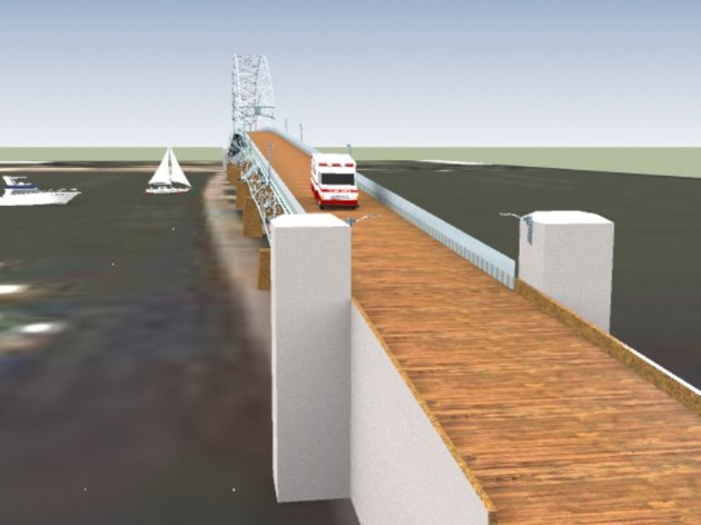 a bridge with supporting concrete pillars would be lifted above the highest level of the Danube River