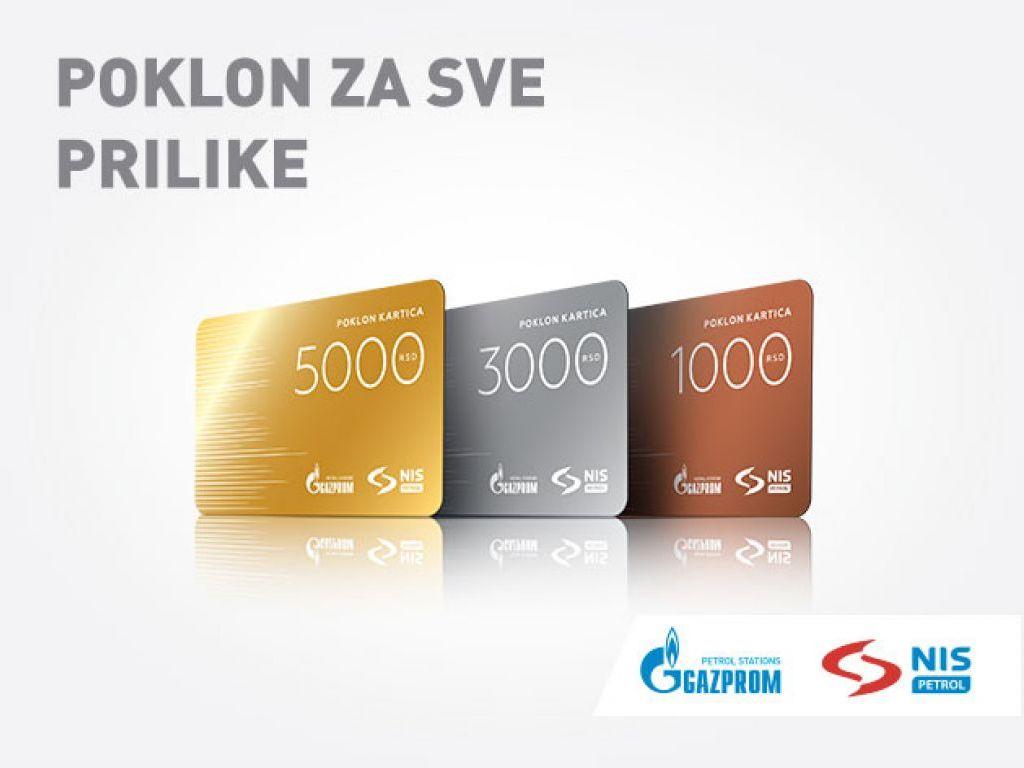 NIS poklon kartice za gorivo u vrednosti od 1.000, 3.000 ili 5.000 dinara