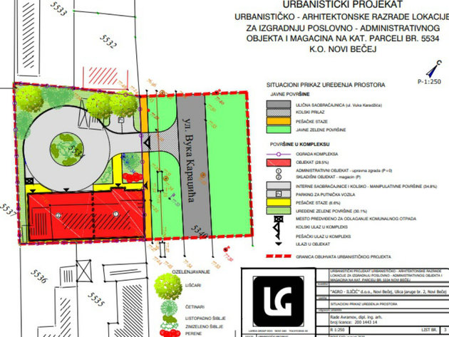 Crvenim označen objekat - 1 upravna zgrada, 2 skladište