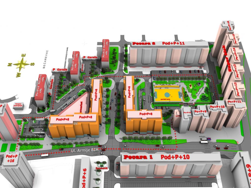 Počela priprema za uređenje prostorne cjeline Pecara 2 u Tuzli - Planirana gradnja dva stambeno-poslovna bloka sa oko 250 stanova(FOTO)
