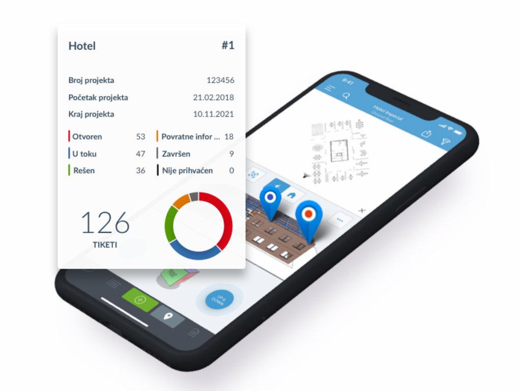 Jednostavna aplikacija kompanije PlanRadar sa mogućnošću detaljnog pregleda BIM modela