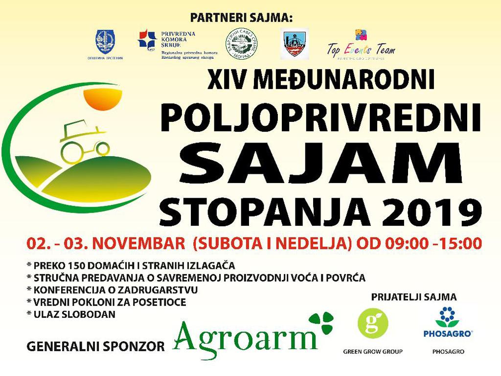 Međunarodni poljoprivredni sajam u Stopanji od 2. do 3. novembra