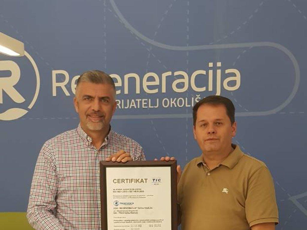 TUVADRIA uručila certifikat za sistem upravljanja kvalitetom kladuškoj Regeneraciji