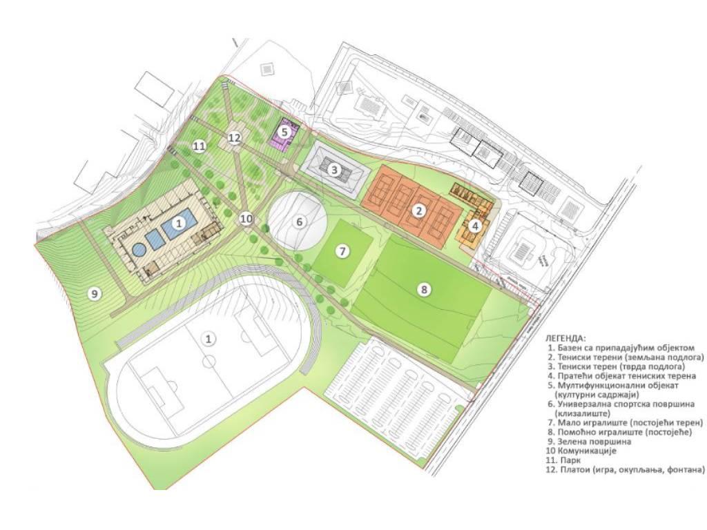Savremeni sportski kompleks sa teniskim terenima i bazenima