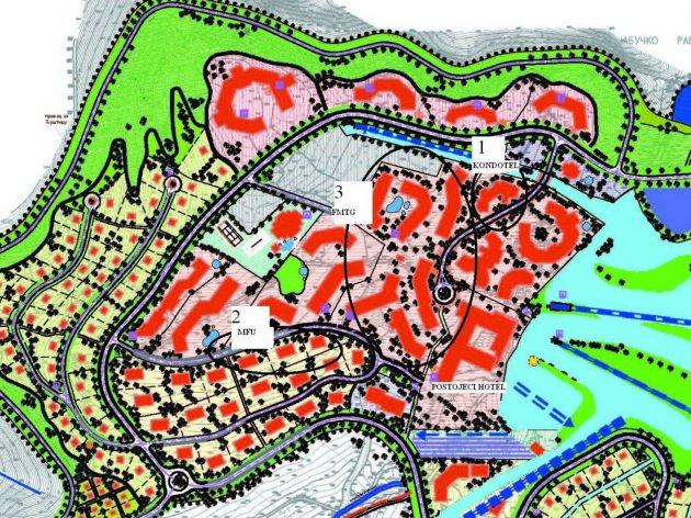 Bebauungsplan - Auf dem Standort 1 baut ein einheimisches Unternehmen ein Condotel, auf dem Standort 2 baut ein anderes Unternehmen Mehrfamilienhäuser, FMTG baud sechs Concotels auf dem Standort 3