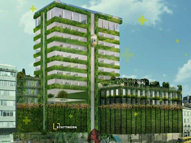 Belgrad bekommt erstes Gebäude mit Fassadenbegrünung - Stattwerk bereitet sich für Wiederaufbau von Beobanka-Hochhaus