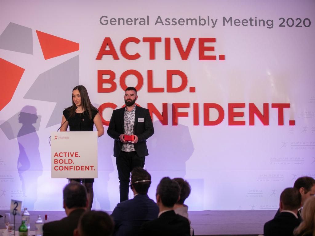 Tamara Klaric and Bogdan Stevanovic win AmCham Hero of the Year award