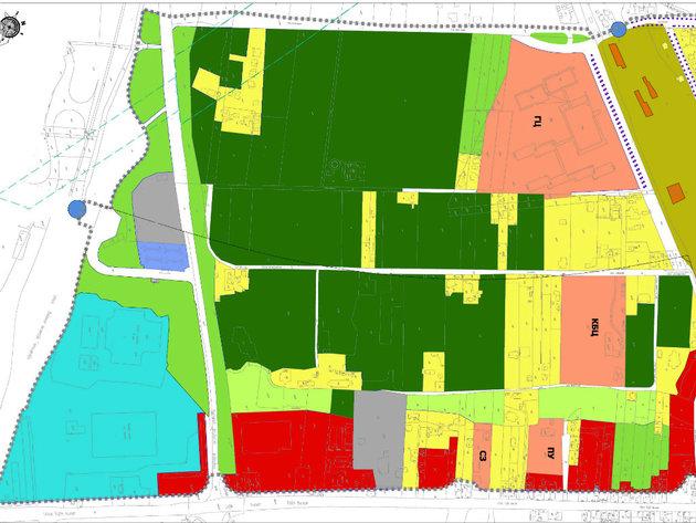 Žutom bojom označeni stanovi, crvenom komercijalni sadržaji, svetloplavom sportski objekti, a narandžastom javne službe