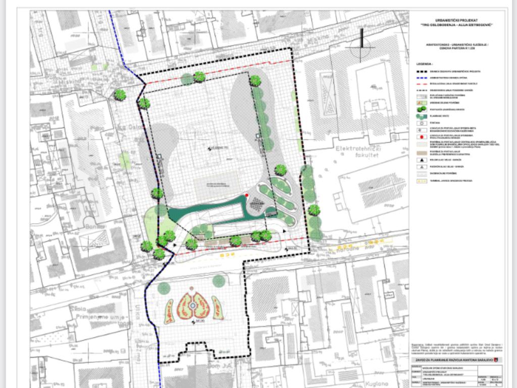 Urbanistički projekat uređenja Trga oslobođenja u Općini Stari Grad predviđa gradnju podzemne garaže na tri etaže