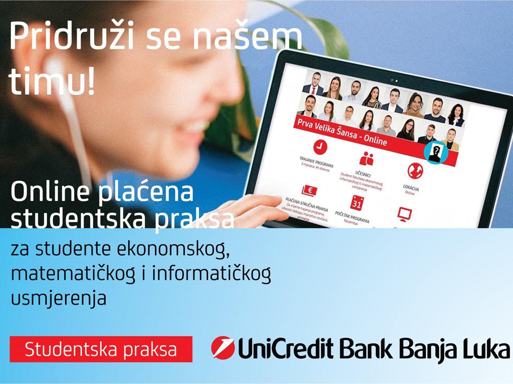 Prva radna iskustva za studente - UniCredit Banka poziva na onlajn plaćenu praksu