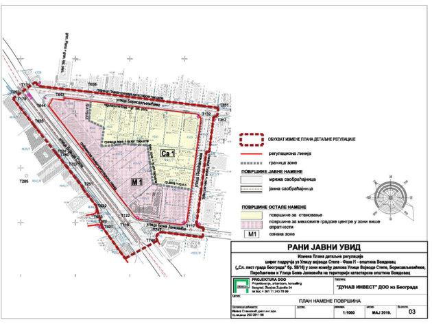 Žutim označene površine za stanovanje, crvenim mešoviti gradski centri