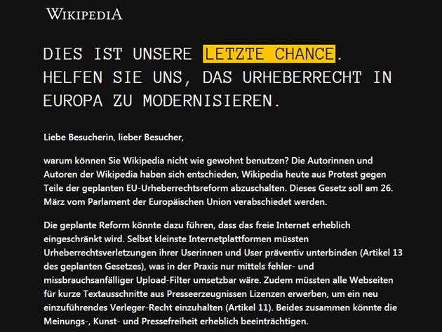 """Nemačka Wikipedia """"u crnini"""" - Autori najpopularnijeg sajta protiv najavljenih izmena Zakona o autorskim pravima u EU"""