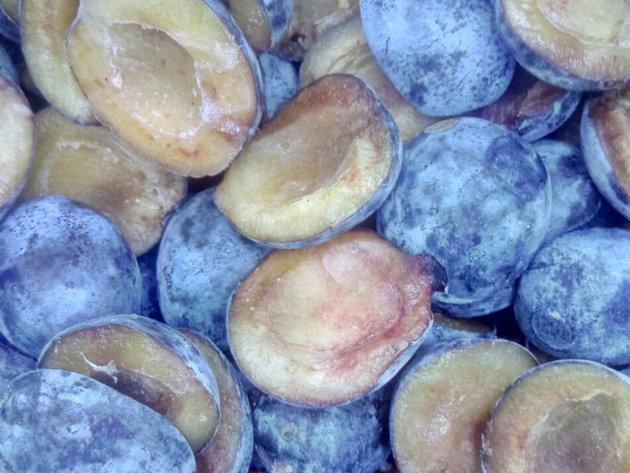 Hand-cut frozen Stanley plum